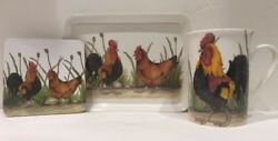 Kent Pottery Porcelain Coffee Mug Rooster Coaster And Tray Tea Cup W/ Original Box
