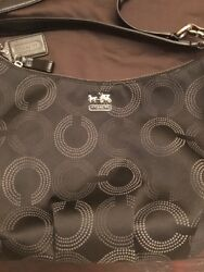 Coach Dotted Op Signature 15929 Black and Grey Double Strap EUC Crossbody
