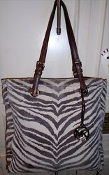 Designer MICHAEL KORS Canvas Tote Shoulder Bag Handbag Purse L