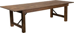 9and039 X 40and039and039 Antique Rustic Wood Design Folding Dining Table With Solid Pine Top