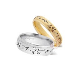 Wedding Ring With Lazer Leaf Detail - Available In 9ct Or 18ct Gold