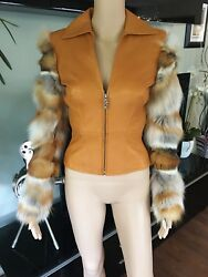 Gianni Versace Vintage Runway Leather And Fox Fur Jacket Coat Sexy Very Rare