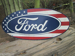 Ford Oval Logo Red White And Blue American Flag Embossed Die Cut Display Detroit