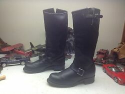 Vintage Sears Made In Usa Black Leather Engineer Boss Motorcycle Boots 11 Ee