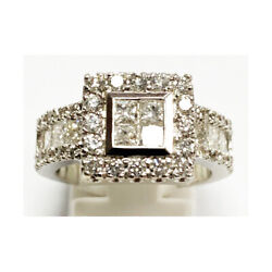 14ct White Gold ' Pre - Owned ' Princess And Brilliant Cut Diamond Cluster Ring.