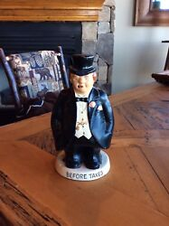 Vintage Collectible Ceramic Bank Taxman 2 Sided Before And After Taxes