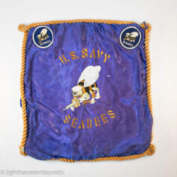 Ww2 Era Us Navy Seabee Silk Embroidered Pillowcase With Two Ww2 Seabee Patches