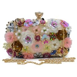 Women Flower Clutch Champagne Evening Party Bag Small Purse Cute Sequin Shinny