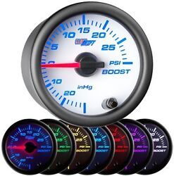 52mm Glowshift White 7 Color 30 Psi Boost / Vacuum Gauge Glow Shift Gs-w701