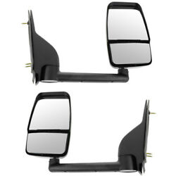 New 03-11 Chevy Express Van Manual Black Folding Mirror Left Right Side Set Pair