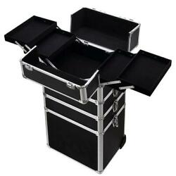 4in 1 Rolling Aluminum Makeup Case Cosmetic Train Box Wheeled Storage Lockable