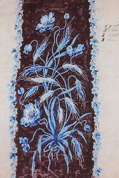 Antique French 19thc Hand Painted Gouache Of Blue Floral And Wheat Design-artwork