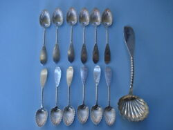 19th Century- George Sharp Coin Silver Berry Set---retailed Through Bailey And Co.