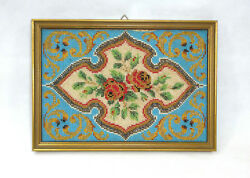 Picture With Beadwork About 1850 Bead Work Glass Beads France