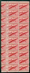 Us C25 6andcent Airmail Dramatic Gutter Snipe Pane Of 20+ Og Nh Rare