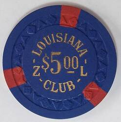 1955 Louisiana Club ZL $5 2nd Edition Casino Chip W. Las Vegas NV