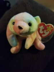 Ty Beanie Baby Sammy Pastel Tye Dye - Laying Style - Mint Private Collection