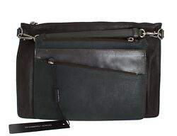 NEW $1300 DOLCE & GABBANA Mens Bag Brown Green Leather Mens Hand Clutch Travel