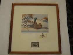Rare Remarque Edition 1974 Maryland Duck Stamp And Signed Print John W. Taylor