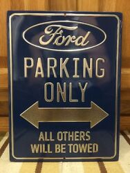 Ford Parking Only Embossed Oil Gas Tires Vintage Style Metal Mustang F150 Focus