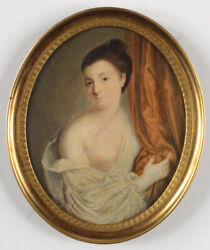 Portrait Of A Coquette Semi-nude Lady Fine English Miniature Late 18th C.