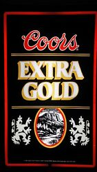 Vintage Coors Extra Gold Lighted Beer Sign 26x16 - Excellent Condition