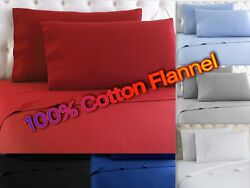 Heavy Winter Flannel 100 Cotton Sheet Set Fitted Flat Pillow Cases Deep Pocket