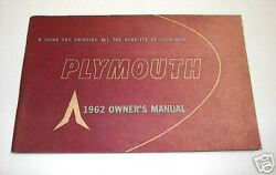 New Old Stock Original 1962 Plymouth Ownerand039s Manual