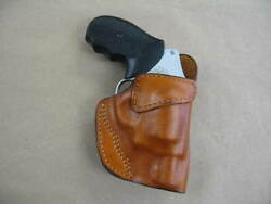 Smith And Wesson J Frame 5 Shot Leather Clip On Owb Belt Concealment Holster Tan R