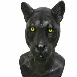MASCARELLO Black Panther Latex Cat Mask Leopard Head Halloween Carnival Costume