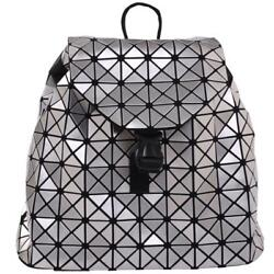 Draw Strings Silver Glossy Double Shoulder Backpack for Women Fashion by Draizee $39.99