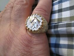 14k White And Yellow Gold Alexander The Great Coin Mens Ring