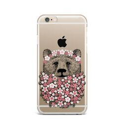 Cute Bear Animal Floral Flower Silicone Rubber Gel Case For IPhone 4S 5S 6S 7+ X