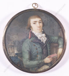 Young Aristocrat In Park Landscape, French Miniature, 1795/1800