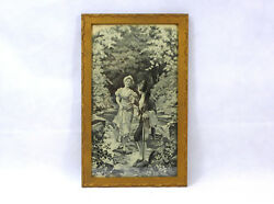 Fine Woven Picture In The Frame France Xix Jh Cavalier With Lady