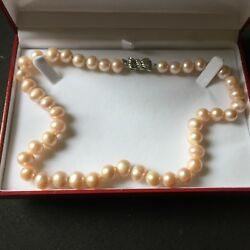 Guaranteed Genuine 18 Inch Hand Select 12mm Pink Pearl Double Knotted Necklace