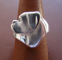 Large Sterling Silver Boxer Head Study Ring