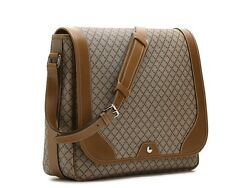 GUCCI Diamante Brown Coated Canvas Leather Large Messenger Crossbody Bag Italy