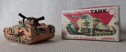 Great Rare Vintage 1950s Linemar Lithographed Tin Wind-up Toy Tank - Shoots