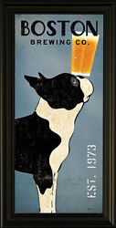 Boston Terrier Brewing Co by Ryan Fowler Vintage Beer Ads Dogs FRAMED Print