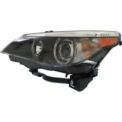 For 530xi 06-07 Driver Side Headlight Clear Lens Black Interior