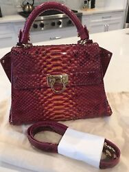 "New Authentic Salvatore Ferragamo ""Sofia"" Python Snakeskin Satchel Handbag"
