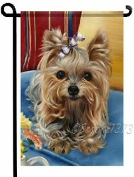 YORKIE painting GARDEN FLAG Dog Art Yorkshire Terrier puppy