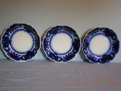 Three Florida Flow Blue 7 3/8 Soup Bowls By Johnson Brothers 2