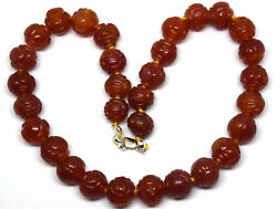 Vintage Chinese Hand Carved Carnelian Beads Necklace With Sterling Clasp 15.5