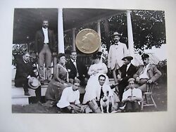 Victorian 6 1/2 X 8 1/2 Glass Plate Negative Family On Porch With Dog C1900-20