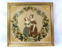 Xxl Large Embroidered Picture In The Frame France About 1840 Beadwork Nk-378