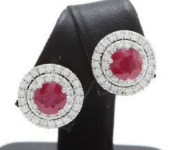 2.85ctw Natural Red Ruby And Diamonds In 14k Solid White Gold Women Earrings