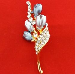 Thai Brooch Flower Crystals Gray Unique Gold-Color Back Beautiful New Nice Chic