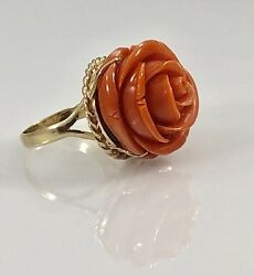 Vintage Untreated RedOrange Coral Rose Carving & Solid 14kt Ring Sz 714.6g